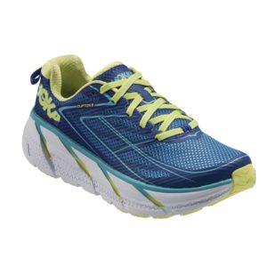 Women Hoka One One Hoka One One Clifton 3 True Blue Sunny Lime Running Shoes W375 375_LRG
